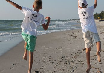 Kids on a Sanibel Island beach in Florida